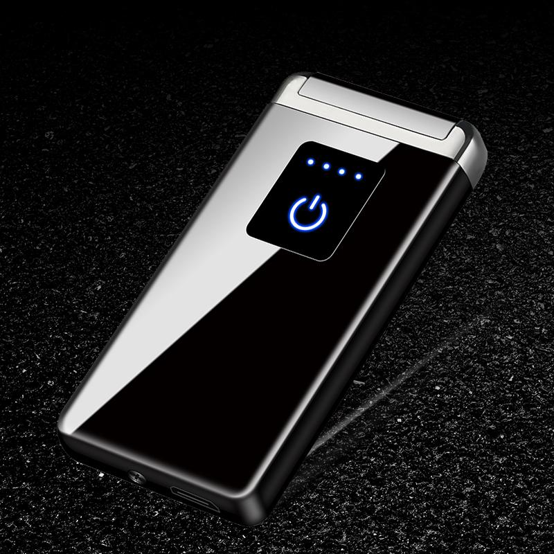 抖音同款双电弧打火机usb充电超薄防风指纹电子创意个性潮定制