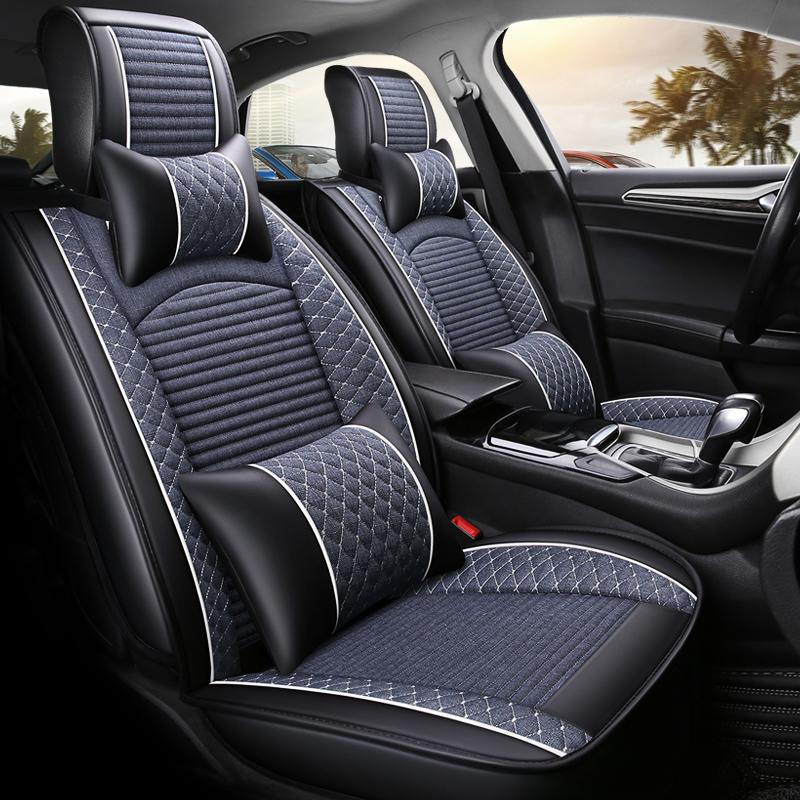 汽车坐垫四季通用座垫小车内五件套亚麻座套套装全包围座椅套冬季