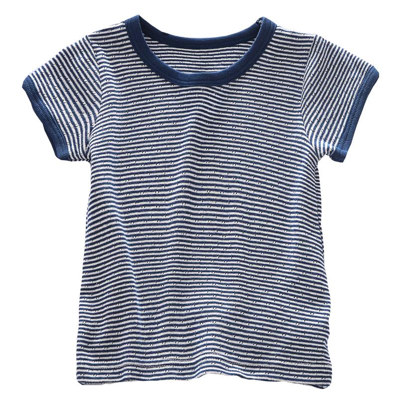 日系夏季男宝宝薄圆领婴儿童纯棉半袖男童体 恤短袖男孩透气速干  t