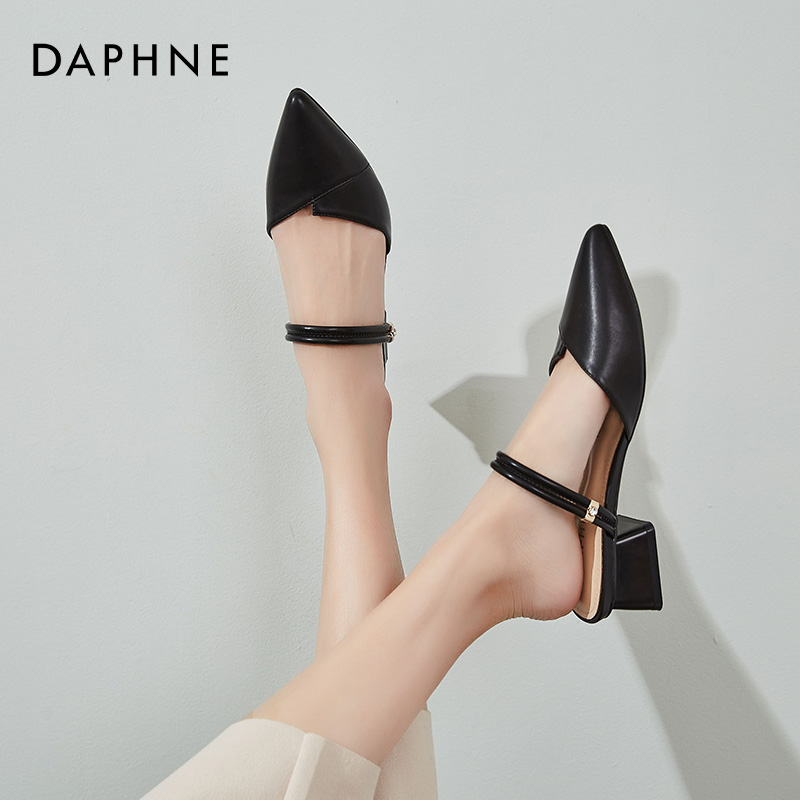 新款一鞋两穿尖头单鞋中跟 2020 达芙妮包头凉鞋女夏仙女风低跟粗跟