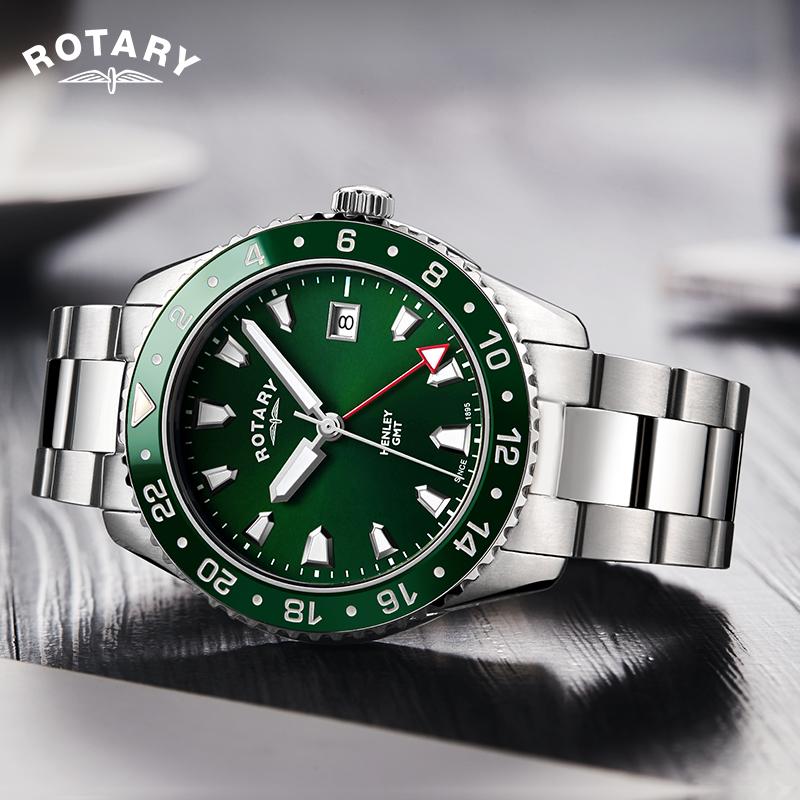 Rotary劳特莱亨利系列男士手表绿水鬼防水学生运动潮流石英男表