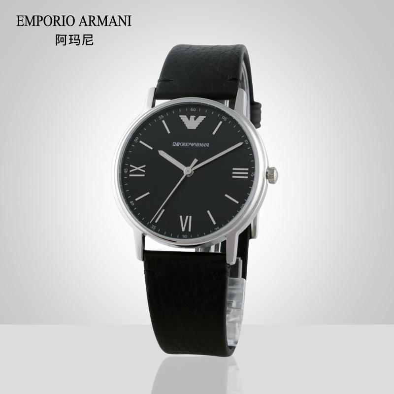 Armani阿玛尼手表男石英表 商务休闲简约正品黑色皮带腕表AR11013