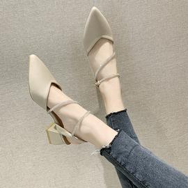 凉鞋女仙女风2020年新款春款包头中跟学生百搭罗马时装粗跟高跟鞋