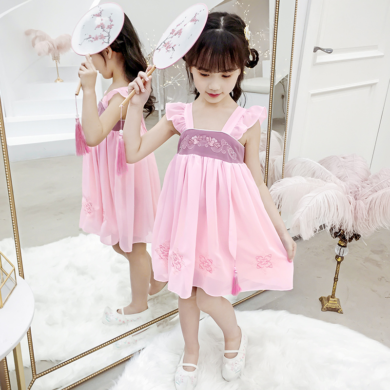 女童汉服儿童唐装中国风夏装古风小女孩超仙樱花改良襦裙夏连衣裙