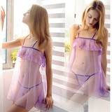 Hot sexy lingerie underwear women sexy seductive lure chiffon nightdress perspective free off pajamas passion suit