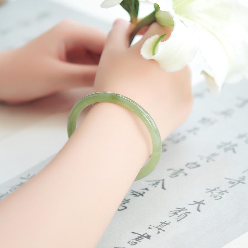 和田玉青玉手镯正品天然少女细圆条手镯细条玉镯送女友妈妈配证书