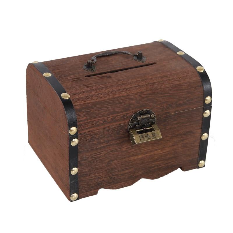 木赛钱箱 存钱罐储钱罐 儿童储蓄罐 可存纸钱 热销木质存钱罐