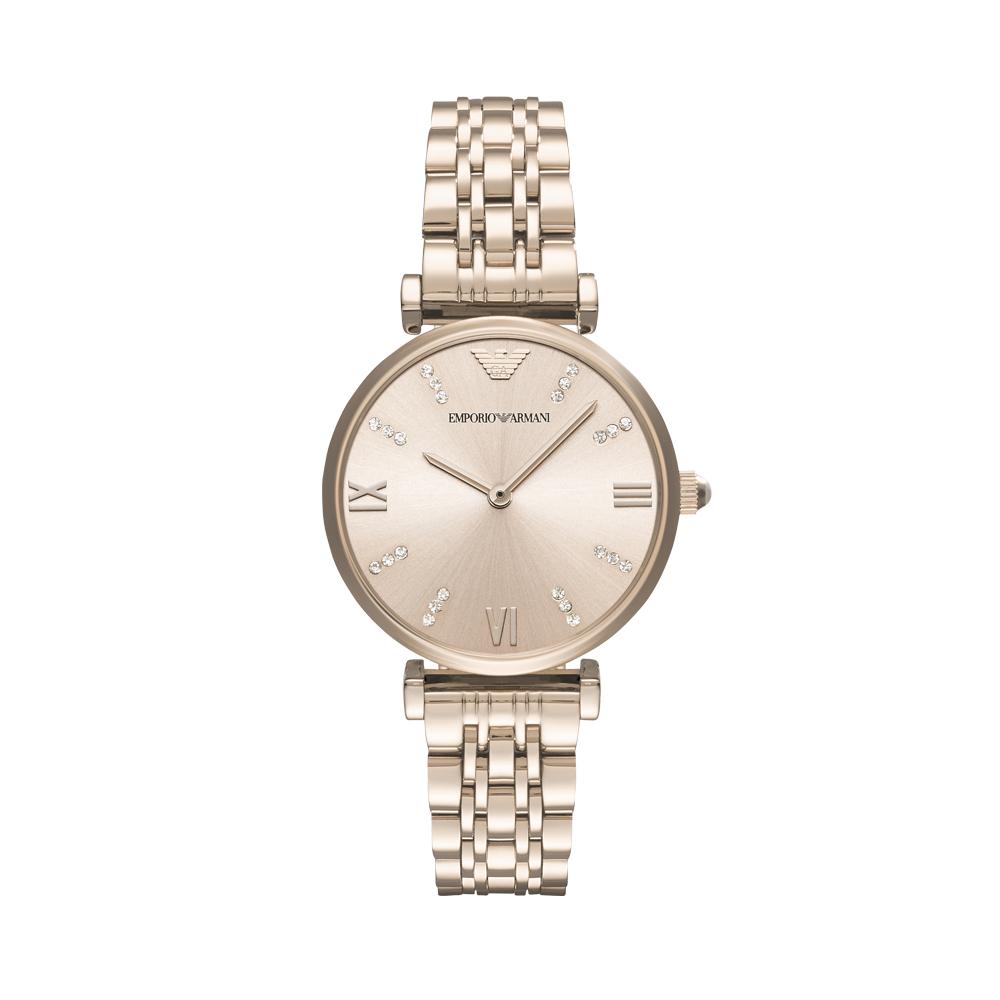 【直营】Armani阿玛尼手表女 休闲时尚镶钻钢带镶钻石英表AR11059