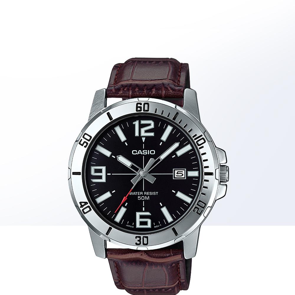 MTP 系列 MTP 卡西欧经典休闲商务钢带防水男士石英手表  直营