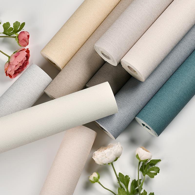 現代簡約素色日式亞麻墻紙北歐純色臥室餐客廳背景墻酒店防水壁紙