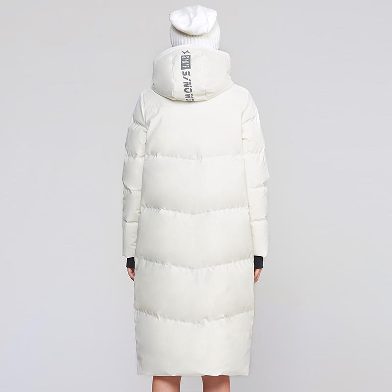 SNOW 雪中飞新款长款羽绒服女加长过膝纯色加厚连帽外套潮  FLYING
