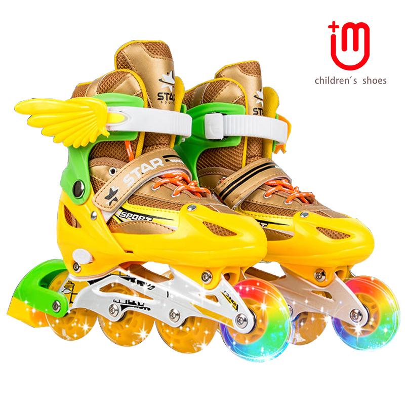 旎袖儿童溜冰鞋全套装直排轮初学者可调轮滑鞋小孩男童