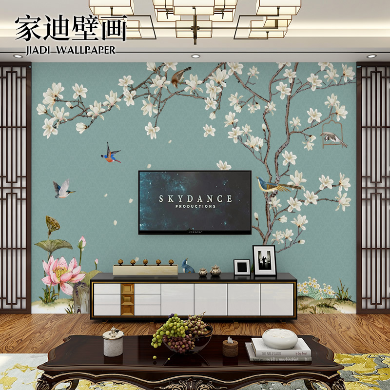 现代新中式花鸟墙纸电视背景墙壁纸卧室客厅3d无缝墙布影