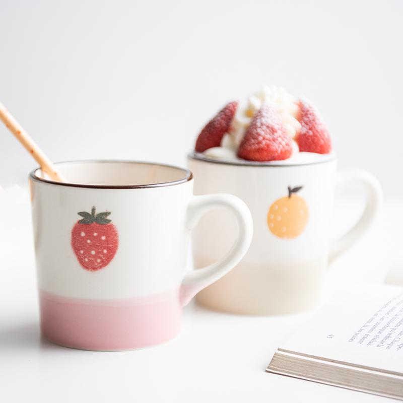 日本进口美浓烧柚子陶瓷杯,送女朋友可爱实用礼物
