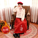 Improved winter thick quilted embroidery Chinese style costume female models fall girls younger version of the two-piece suit