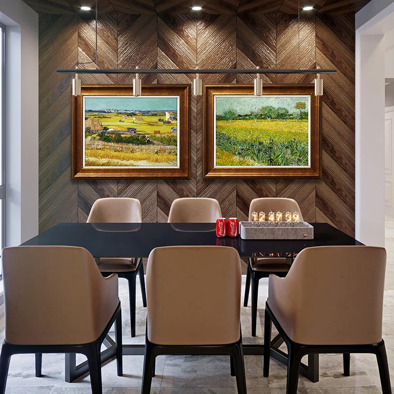 奕境 歐式餐廳裝飾畫美式輕奢客廳風景掛畫現代玄關油畫 梵高豐收