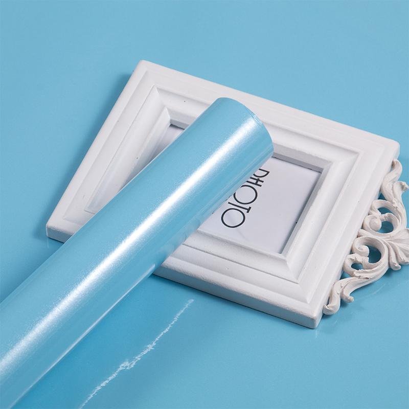 米防水壁纸宿舍大学生寝室卧室装饰墙壁纸 10 天蓝色墙纸纯色自粘贴