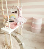 INS wind indoor swing hanging chair children's room decoration solid wood board cotton rope toy home ceiling hanging swing