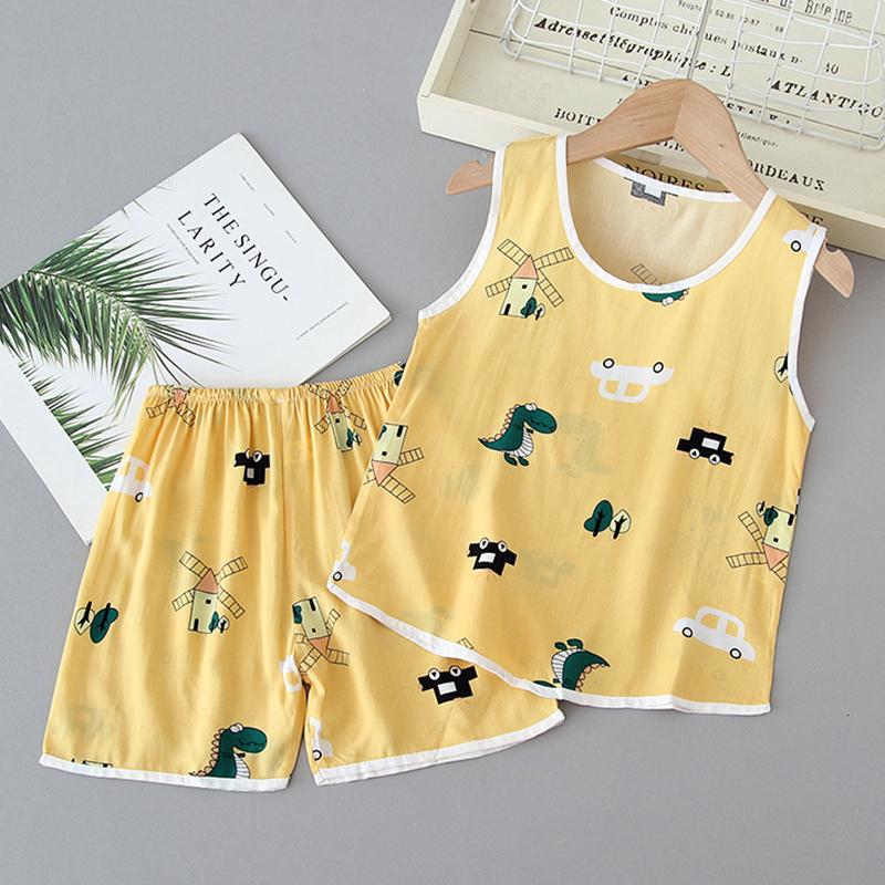 儿童睡衣夏季薄款棉绸夏天背心套装男童夏装绵绸宝宝人造棉家居服
