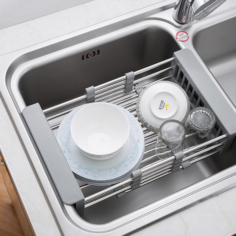 (用10元券)厨房水槽沥水篮可伸缩沥水架不锈钢洗菜盆滤水篮洗碗池置物篮子