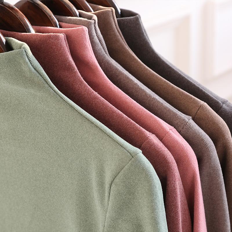 阳离子打底衫女韩国秋冬新款半高领纯色高弹保暖百搭长袖衫保暖衫 - 图0