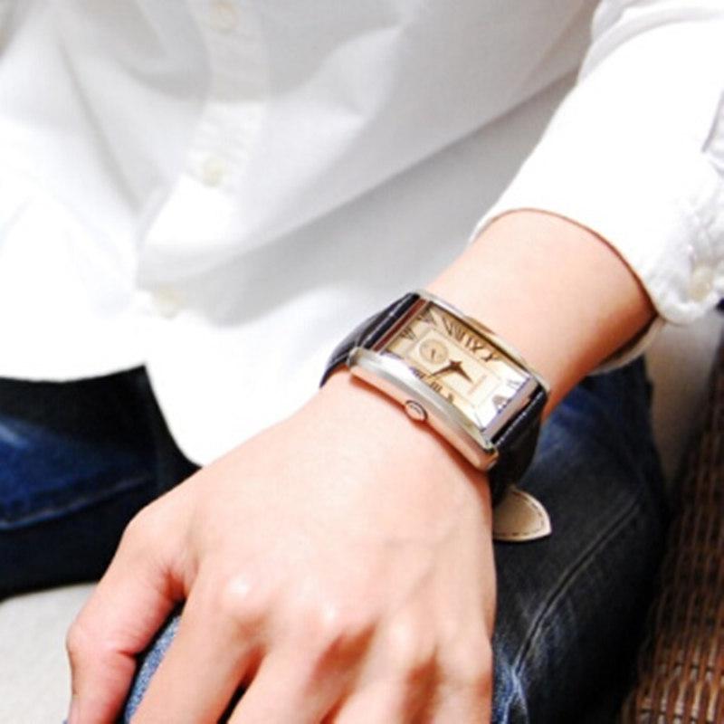 EMPORIO ARMANI阿玛尼手表男 复古方盘皮带吴彦祖同款AR1605