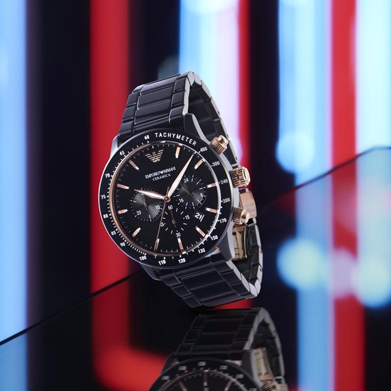 ARMANI阿玛尼手表男吴磊同款 新品时尚运动酷钢带石英男表AR70002