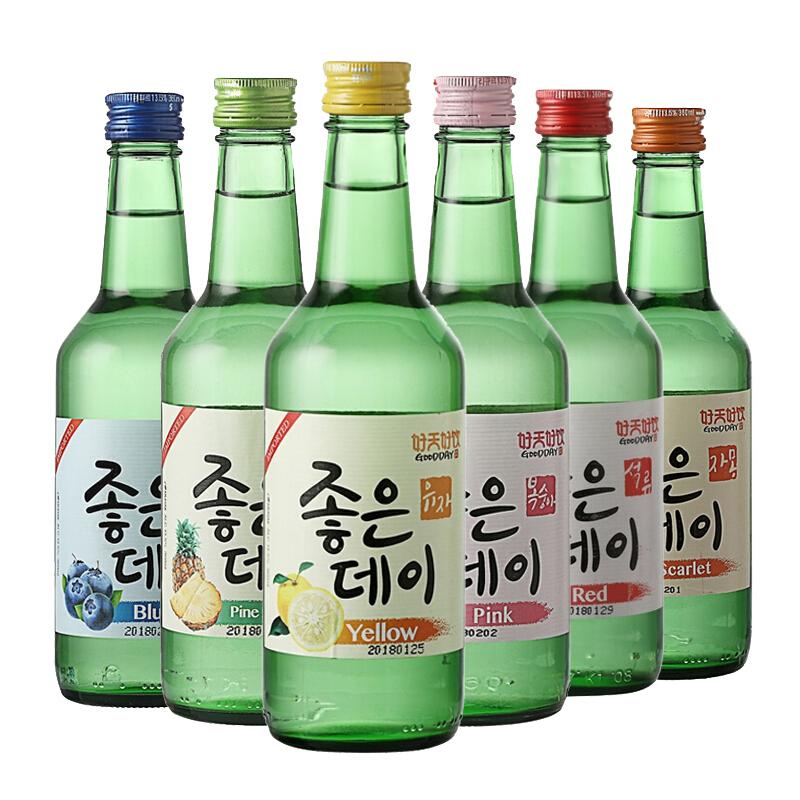 6 送酒杯包邮韩国原装进口清酒好天好饮果味烧酒配制酒 360ml 瓶装