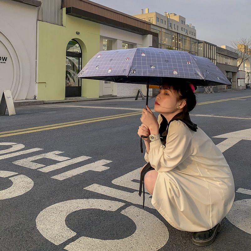 雨伞全自动可爱遮阳伞三折叠太阳伞防晒防紫外线雨伞女晴雨两用 - 图0