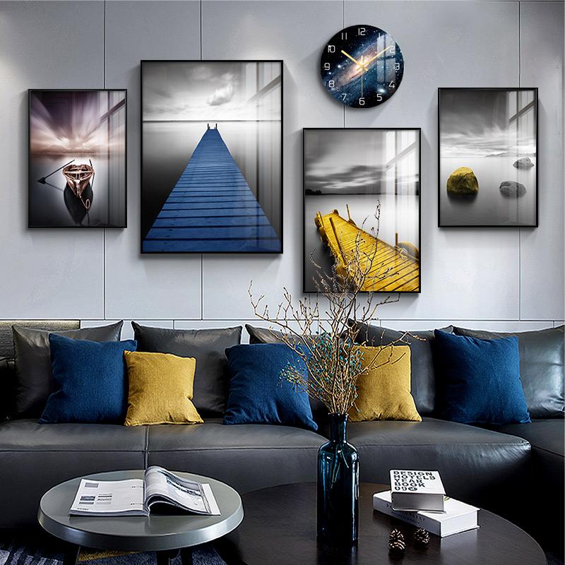 挂画轻奢客厅背景墙装饰现代简约装饰画组合画钟表 北欧沙发后面