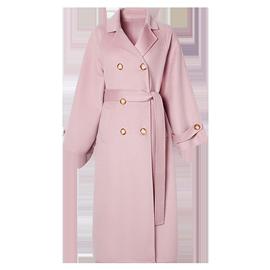 水波纹手工双面羊绒大衣女2019年冬装新款过膝长款粉色羊毛呢外套