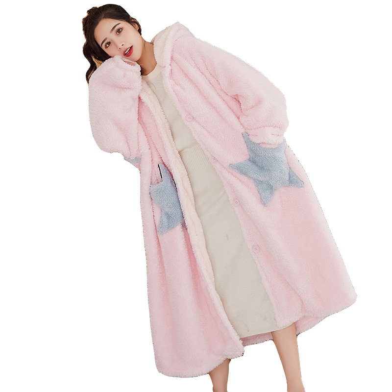 睡袍女星星卡通睡裙珊瑚绒加厚睡衣春秋长款宽松外穿法兰绒浴袍