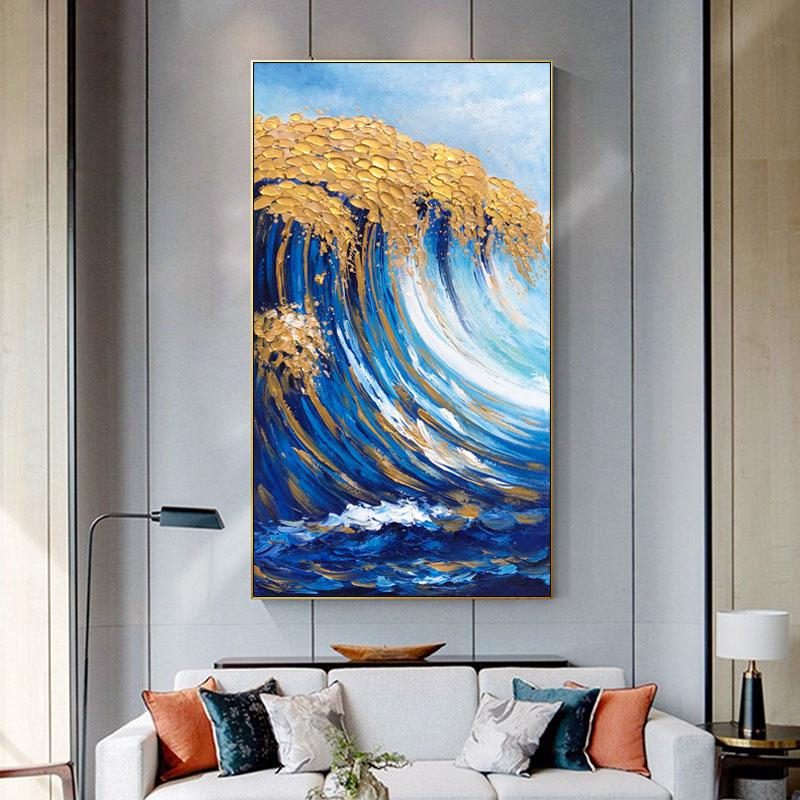 简约现代抽象油画纯手绘竖版玄关过道轻奢客厅装饰金箔大海浪挂画