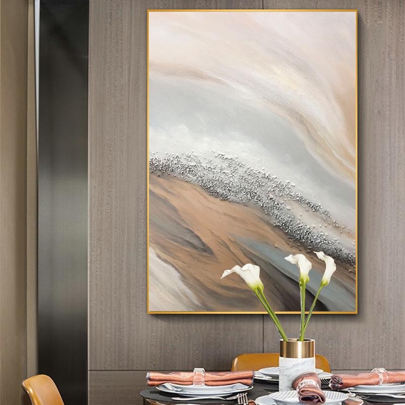 純手繪油畫定制北歐現代簡約客廳裝飾畫玄關抽象海灘輕奢厚油掛畫