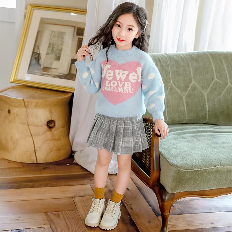 【秋冬新款】女童毛衣水貂绒针织衫