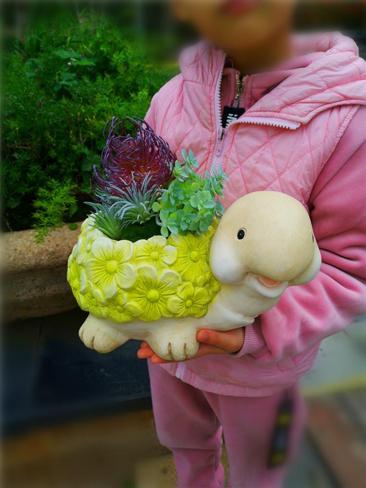 花园仿真装饰品多肉小花盆乌龟摆件阳台窗台摆设品卡通动物小花缸