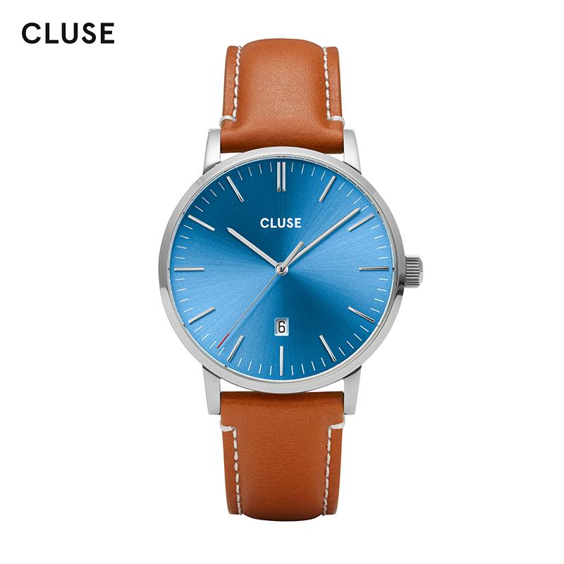 商务皮带日历男士大表盘石英手表 新款艾瑞维斯系列  CLUSE2019 40mm