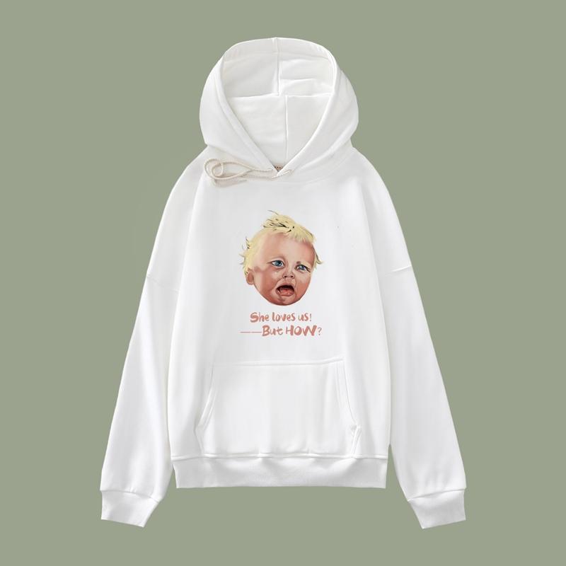 Geas原创独立设计 哭泣的小孩 连帽卫衣学生秋冬加绒加厚外套潮牌