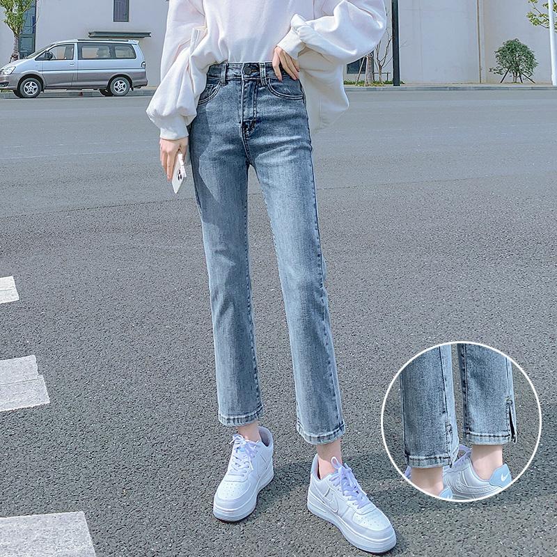 牛仔裤女直筒浅色高腰显瘦秋冬小个子秋季2021年新款烟管裤子冬季