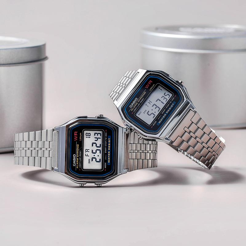 A159WA casio 卡西欧正品手表小银表简约防水复古小方块手表 N1D
