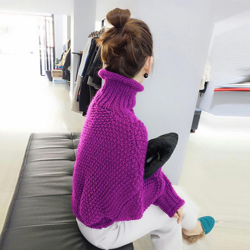 欧洲站春装2020年新款女装欧货粗线加厚高腰套头外穿高领打底毛衣