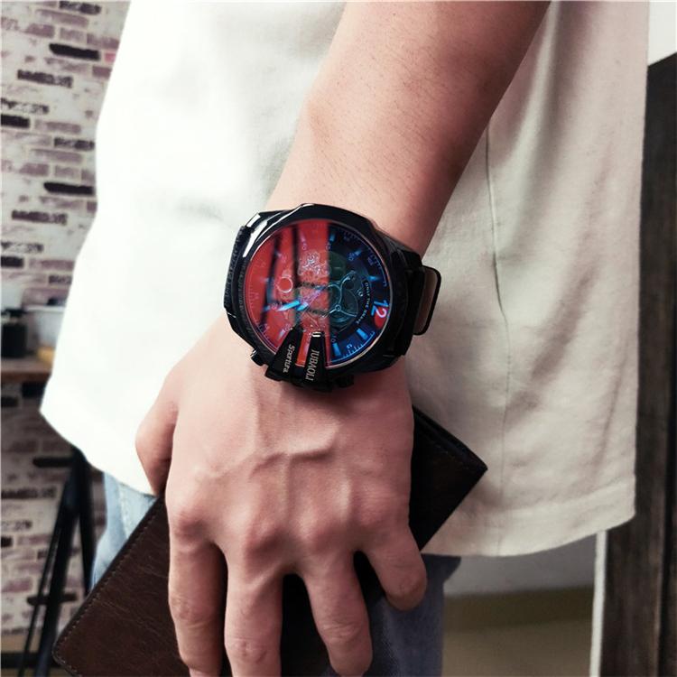 偏光全自动镂空陀飞轮机械表男士钢带大表盘手表 欧美风街头手表