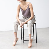 Cotton camisole female summer outer wear Western style minimalist temperament loose v-neck sleeveless linen shirt solid color rendering