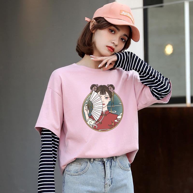 长袖t恤女2021年新款秋装假两件宽松打底衫