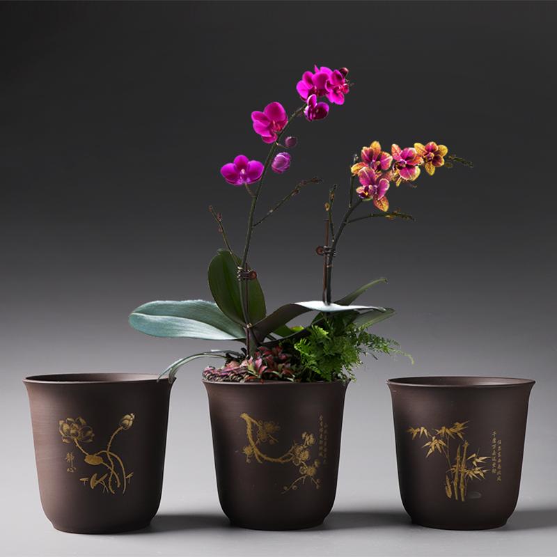 花盆紫砂陶瓷特价清仓创意个性简约蝴蝶兰