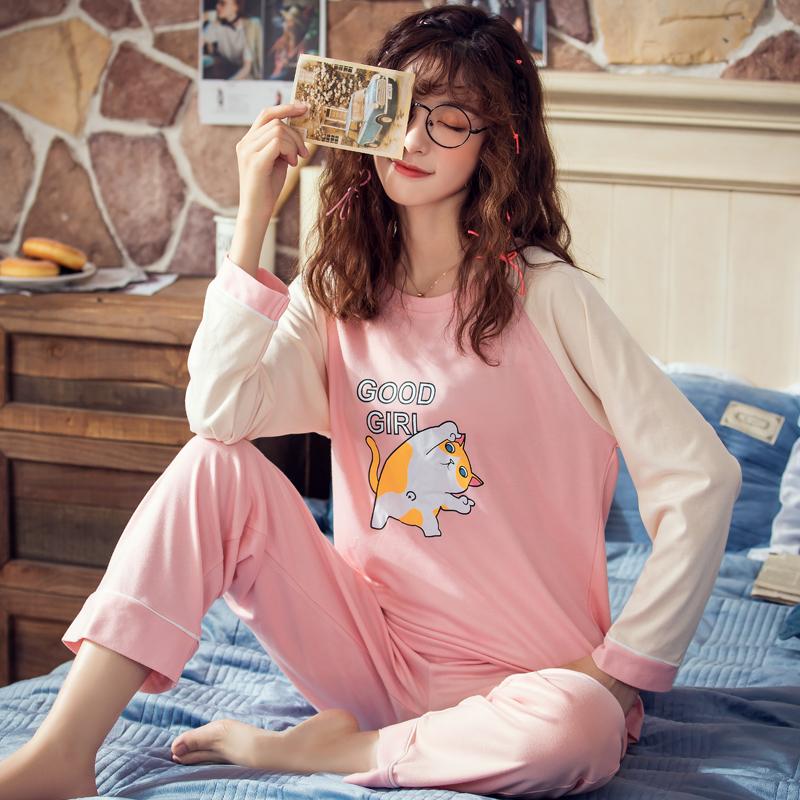 韩版春秋季长袖长裤睡衣女士可爱舒适可外穿大码纯棉休闲家居套装