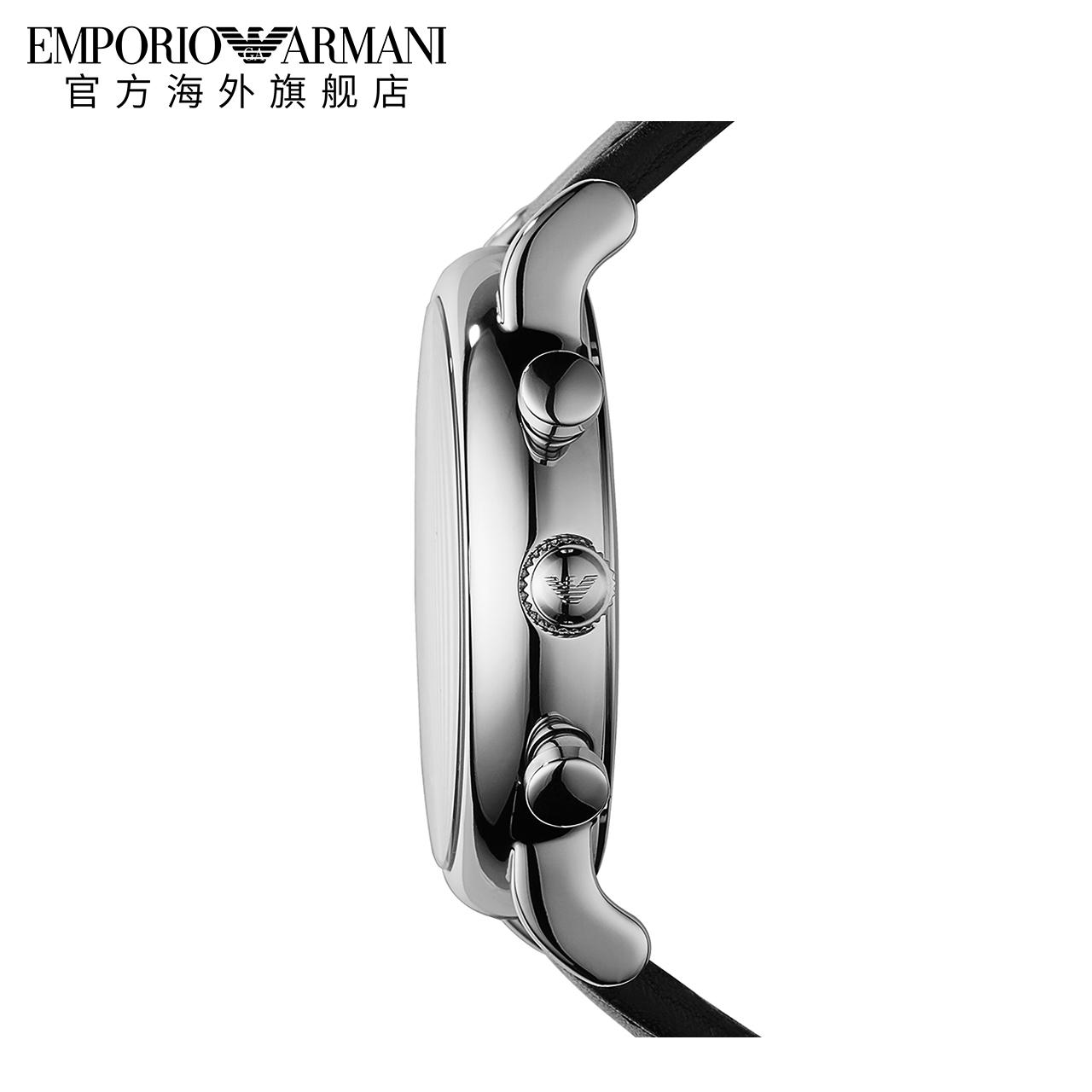 Armani阿玛尼皮带手表男 时尚简约黑色防水石英表AR1828正品保障