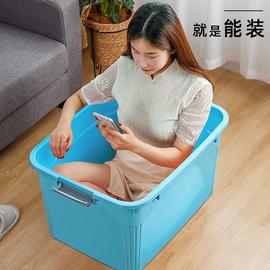收纳箱家用衣服玩具整理箱塑料有盖衣物储物盒子特大号清仓三件套