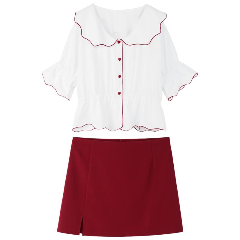 胖佳佳大码套装女夏胖 洋气减龄显瘦雪纺衫半身裙时髦心机两件套  mm
