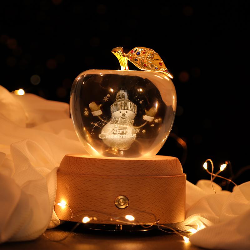 创意水晶苹果音乐八音盒送女友表白生日礼物圣诞节平安夜礼品刻字